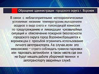 Власти Воронежа призывают горожан к осторожности