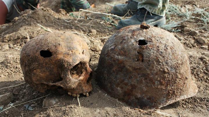 ВВоронеже рабочие настройке отыскали останки солдат времён ВОВ