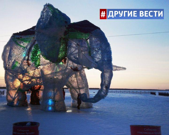 Российские эко-активисты создали гигантского слона из пластиковых бутылок