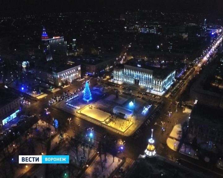ВИДЕО: Потрясающие виды ночного новогоднего Воронежа