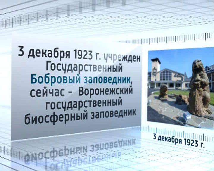 3 декабря 1923 года учреждён Государственный Бобровый заповедник